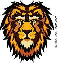 ima, 頭, グラフィック, ライオン, ベクトル, マスコット