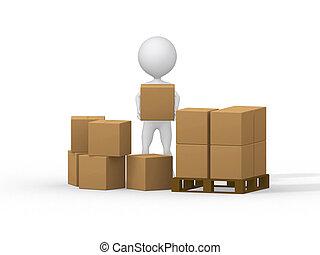 image., 人々, boxes., 届く, 小さい, ボール紙, 3d