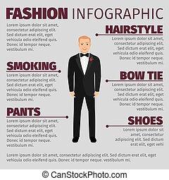 infographic, スーツ, ファッション, 人, 結婚式