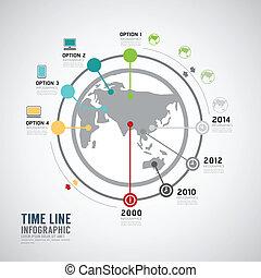 infographic, タイムライン, ベクトル, デザイン, 世界, template.