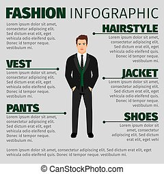 infographic, ファッション, 人, スーツ