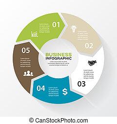 infographic., 図, 概念, processes., ビジネス, 部分, 抽象的, 矢, グラフ, ∥あるいは∥, chart., バックグラウンド。, ベクトル, 5, テンプレート, ステップ, 円, プレゼンテーション, オプション