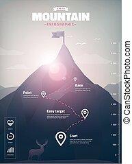 infographic, 山の ピーク, イラスト, 多角形