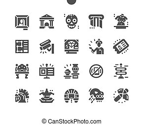 information., guide., ベクトル, 単純である, 展示物, 博物館, 地図, pictogram, museum., 彫刻, 固体, 残り, icons., object., 歴史的, 場所, picture., gallery., 恐竜