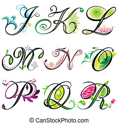 j-r, アルファベット, 要素