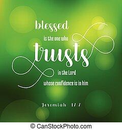 jeremiah, 古い, trusts, bokeh, 緑の背景, 新約聖書, 主, blesses, 1(人・つ)