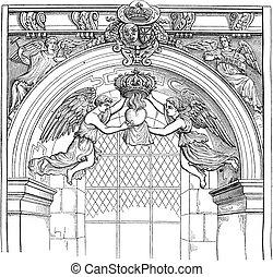 jesuit, 型, 後悔しなさい, saint-antoine, 教会, engraving.