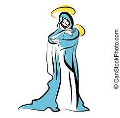 jesus., mary, 子供, クリスマス, 新しい, illustration.