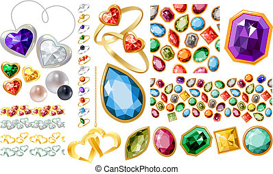 jewelery, リング, セット, 宝石, 大きい