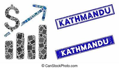 kathmandu, 長方形, スタンプ, チャート, 苦脳, モザイク, 財政