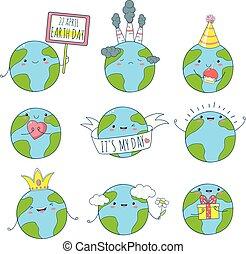 kawaii, かわいい, スタイル, セット, アイコン, 地球