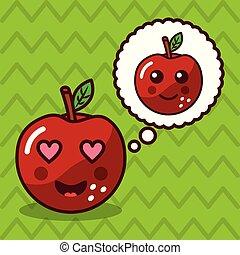 kawaii, アップル, 特徴, フルーツ, スピーチ泡