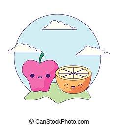 kawaii, スタイル, スライス, アップル, フルーツ, オレンジ, 風景