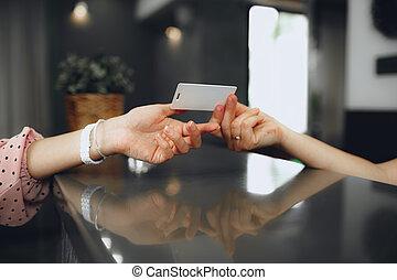 key-card, 受付係, クライアント, ホテル, フロント, 寄付
