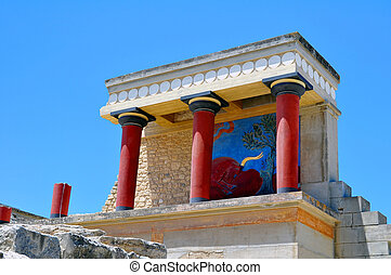 knossos., palace., サイト, minoan, 考古学的, crete.