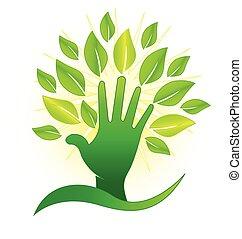 leafs, ロゴ, 緑, 手, 光線