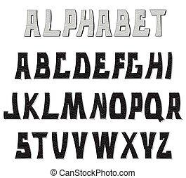 letters., abc, 装飾用である, textured, alphabet.