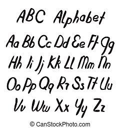 letters., abc, alphabet., 手, 引かれる