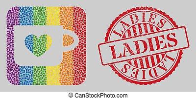 lgbt, 女性, 型板, 美しい, 苦脳, モザイク, カップ, シール