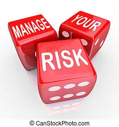 liabilities, さいころ, 管理しなさい, 減らしなさい, コスト, 言葉, あなたの, 危険