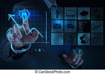 lightbulb, 概念, 引く, ビジネス, 解決, 手, コンピュータ, ビジネスマン, インターフェイス, 新しい