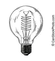 lightbulb, 詳しい, スケッチ, drawing., 型, 隔離された, イラスト, 手, バックグラウンド。, ベクトル, 黒, 引かれる, 白, スタイル
