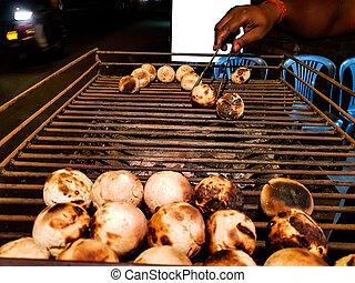 litti, グリル, ベンダー, 広告, mockup, ある, スペース, 準備された 食糧, backgroundlitti, indian, 石炭, 共通, 背景, 北, 白, 焼かれた, 側, 道
