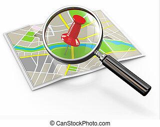 location., ファインド, 画鋲, loupe, 地図