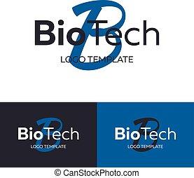 logotype, logo., concept., template., ロゴ, 技術, 手紙, ベクトル, b, bio
