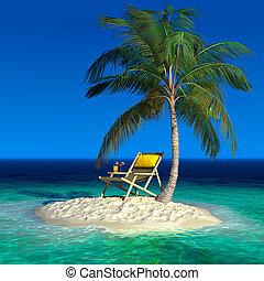 longue, 島, トロピカル, 小さい, chaise, 浜