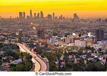 los, カリフォルニア, ダウンタウンに, スカイライン, 都市, アメリカ, アンジェルという名前の人たち