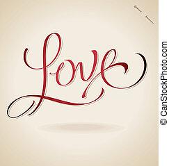 'love', レタリング, (vector), 手