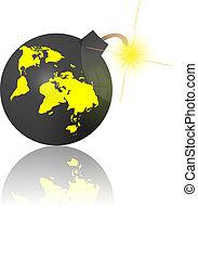 m, world., 端, 爆弾, 地球