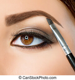 makeup., 目, 眉毛, ブラウン, make-up.