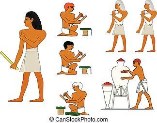 manufacturing., 古代, work., エジプト人, エジプト, ceramists, セラミックス