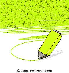 marker., ビジネスオフィス, 成功した, vector., グラフ, 黄色いhighlighter, ハイライトした