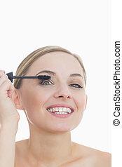 mascara, 彼女, 適用, 肖像画, 女性の目, クローズアップ, 若い