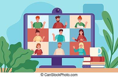 meeting., 漫画, 管理, スクリーン, グループ, 事実上, conferencing., 仕事, リモート, 概念, 同僚, 議論, ビデオ, ベクトル, オンラインで, コンピュータ