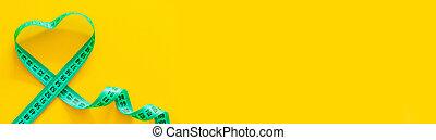mockup, 黄色, バックグラウンド。, 横, 損失, slimming, 重量, 測定, テープ, 体