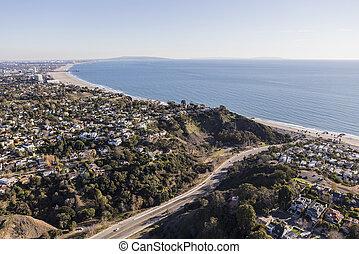 monica, 航空写真, santa, 太平洋沿岸