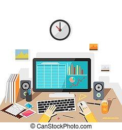 monitoring., desktop., ビジネス, 仕事, 販売