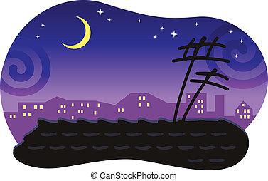 moon., 屋根, 定型, タイルを張った, 夜, 都市の景観