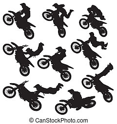 motocross, シルエット, フリースタイル