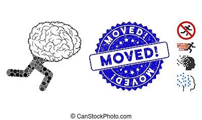 moved!, 脳, コラージュ, 切手アイコン, textured, 動くこと