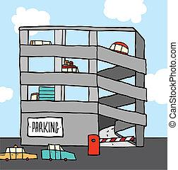 multi-level, 駐車, 漫画, ガレージ