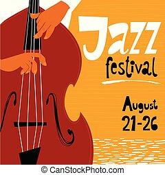 musicion., poster., ベース, 祝祭, ポスター, ジャズ, ベクトル, ダブル, コンサート