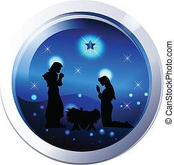 nativity, ベクトル, シルエット, 現場
