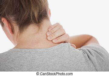 neckache, 女, クローズアップ, 苦しみ