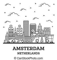netherlands, 建物都市, アウトライン, 歴史的, アムステルダム, スカイライン, 隔離された, white.