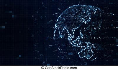 network., map., 惑星, 未来派, planet., 世界的である, illustration., future., earth., 世界地図, 青, 3d, 社会, 背景